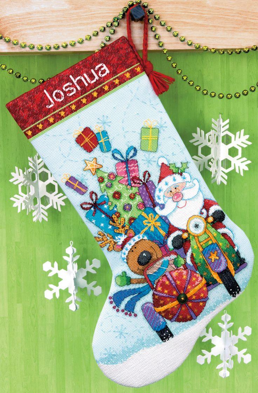 Santa's Sidecar Stocking Counted Cross Stitch Kit-16