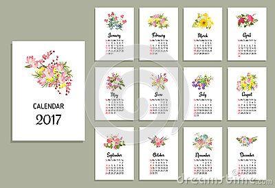 Vector illustration of floral calendar 2017