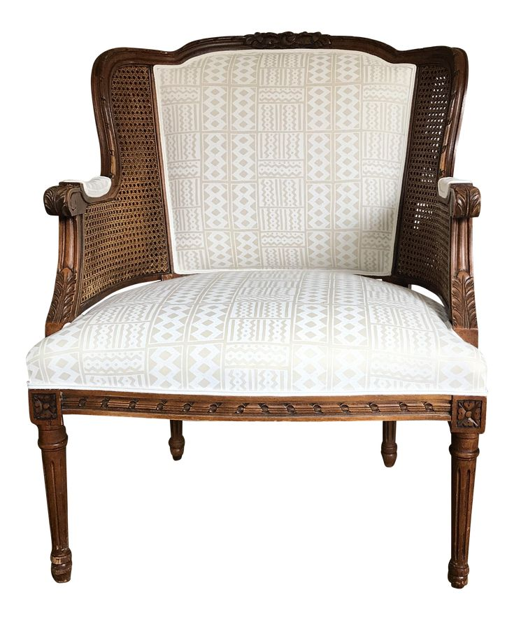 """Great shape and style, the century furniture caned French project share has recently been up-cycled. Well proportioned and beautifully constructing - new webbing. Fresh upholstery from a master upholsterer. Chair is covered in a gorgeous geometric tonal pattern in white on off-white linen from Alan Campbell for Quadrille. Pattern is """"tie dye."""" Crisp and classic -a great quality chair adding a touch of old-world charm with modern flair."""