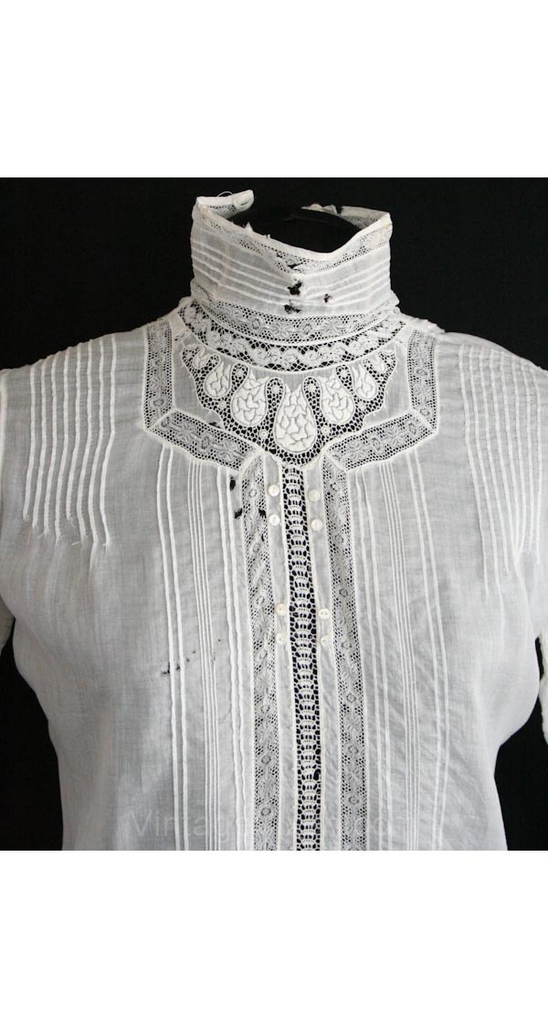 Edwardian blouse with lace insertions and pintucks.