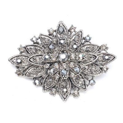 Diamond-shape Vintage Crystal Brooch (Marcasite)