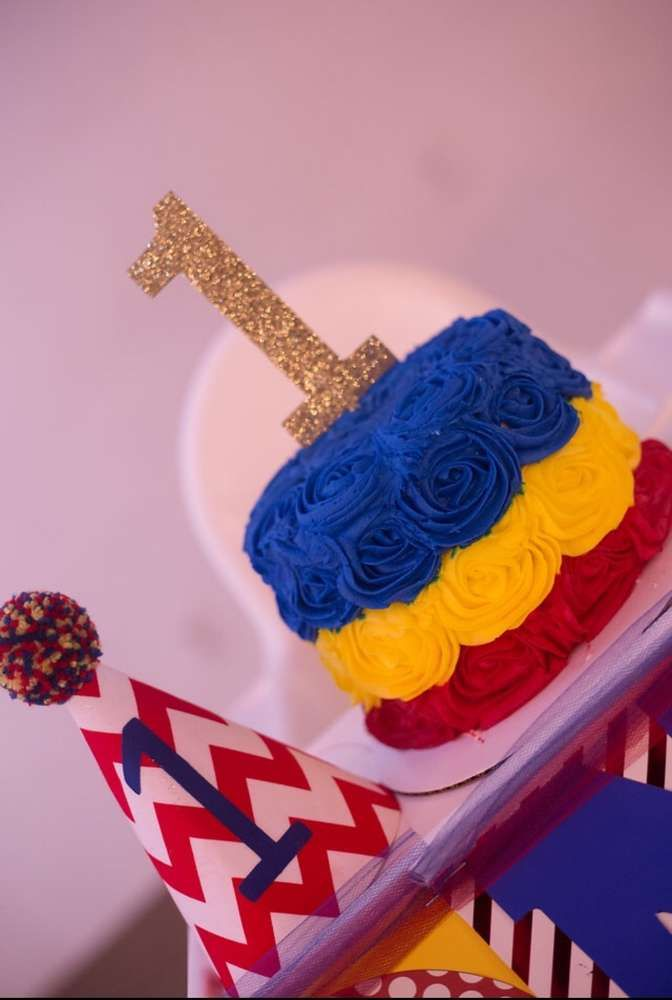 Fun cake at a circus birthday party! See more party planning ideas at CatchMyParty.com!
