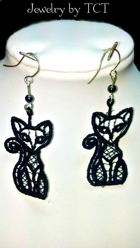 Black Lace #Cat with Tail #Earrings with Sterling by teresadelosh, $11.00