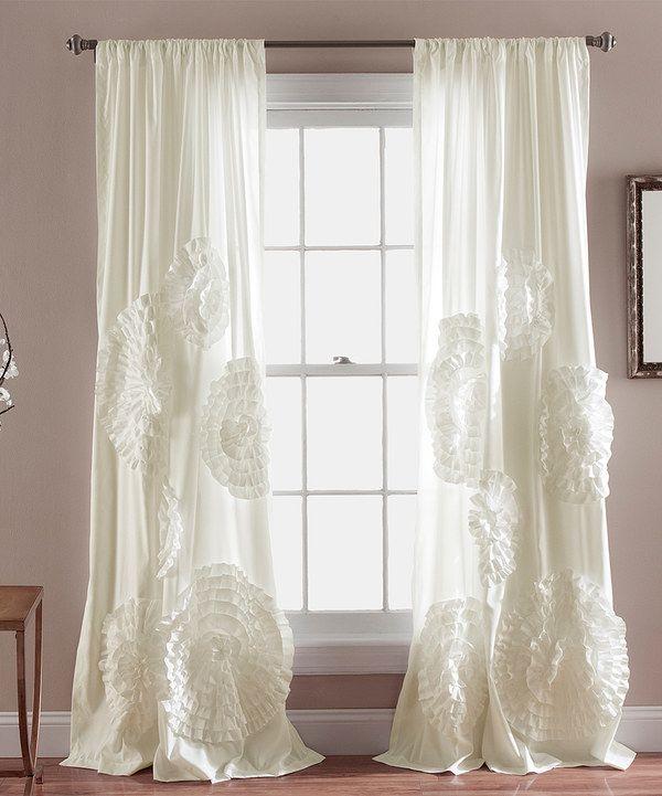 3d Rosette Curtains Ruffle Draperies Ivory Magnolia