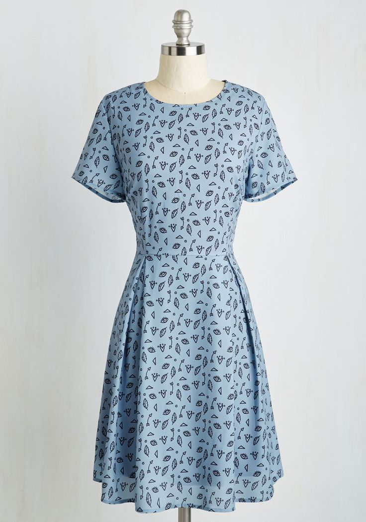 All About Abby Dress. To rock a dress as fun, funky, and fashionable as this cornflower blue A-line by Sugarhill Boutique, you must really be an awesome chick. #blue #modcloth