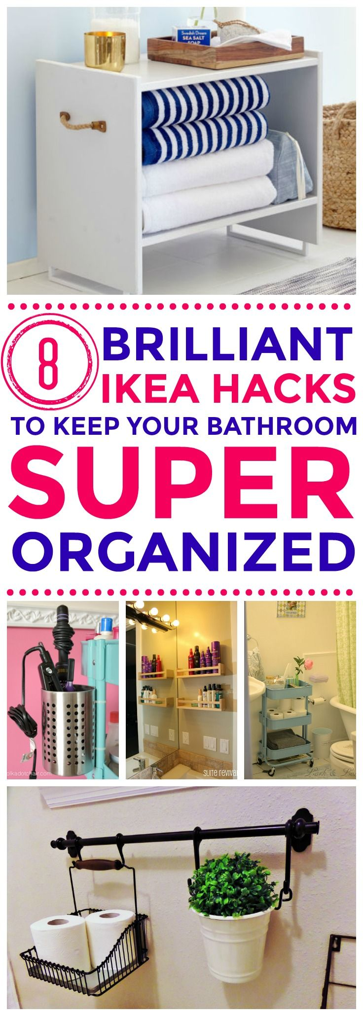 These Bathroom Organization hacks using Ikea products are great for small spaces!! I'm so happy I found these good ideas tha will declutter EVERYTHING in my bathroom!l!! Definitely pinning!