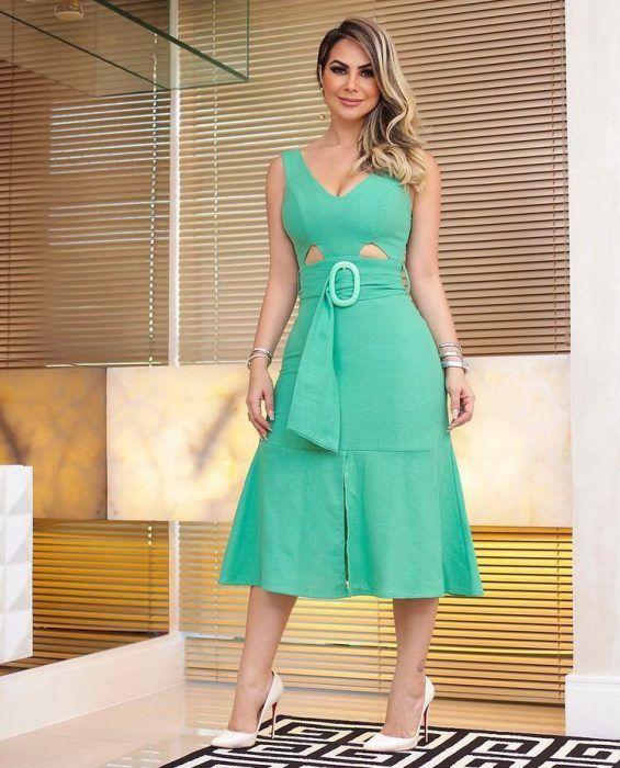 8dc9aad928 31+ Vestidos Midi de Moda para lucir Elegante y con Estilo (2019 ...