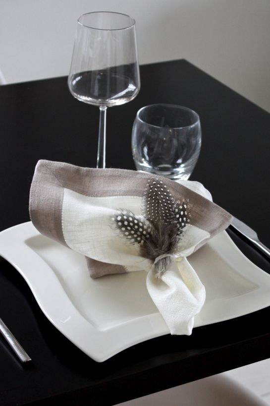 Easter   table setting   feathers