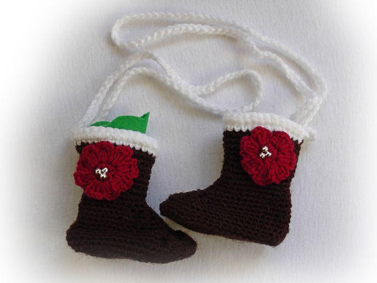 Crochet car mirror boot, Car freshener holder, Santa boot, by GrandmasOldBox on Etsy