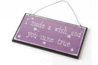 'I Made a Wish, and You Came True' Retro Pink Wooden Sign by Heaven Sends
