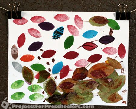 Leaf art with stamps and markers and real leaves