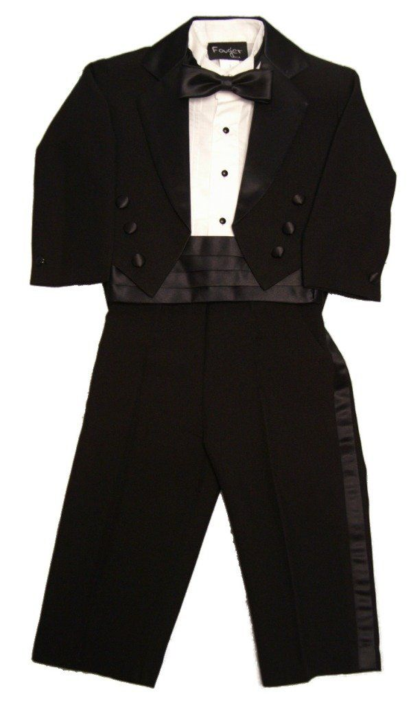 Fouger Boy's Black Tuxedo Tails Formal Set 6 months. Black Tuxedo Tails. Tails Jacket, Pants, Tux Shirt, Cummerbund and Bow Tie. Classic 5 piece boy's tuxedo. Runs really slim, especially the shirt. May need minor alterations just like a men's tuxedo.