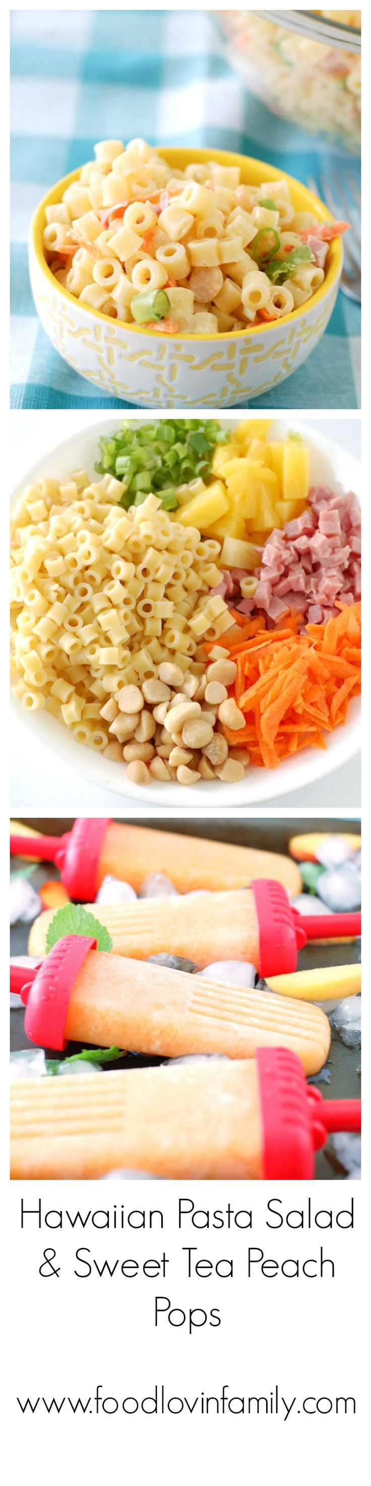 Summer calls for Hawaiian pasta salad and Sweet Tea Peach Popsicles! The pasta salad is a fabulous side dish, and the popsicles make a fun treat on a hot day! These recipes will be sure to delight your family.
