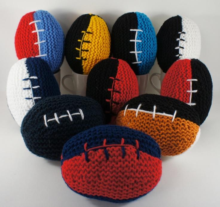 AFL Footballs Soft AFL Knitted Footballs by nchantedclocks on Etsy