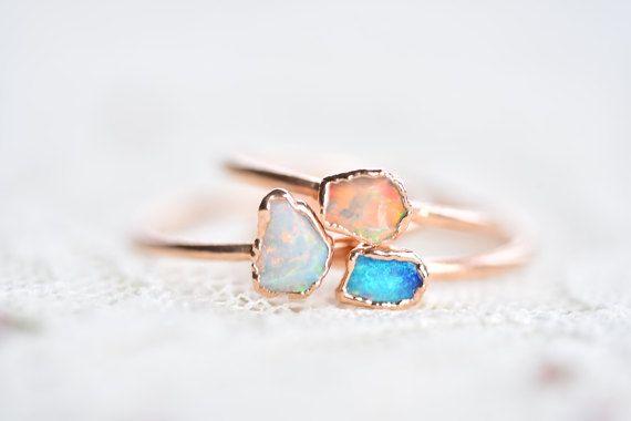 Opal crystal ring Rough opal ring Opal ring Raw opal