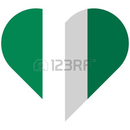 Vector image of the Nigeria flat heart flag Vector