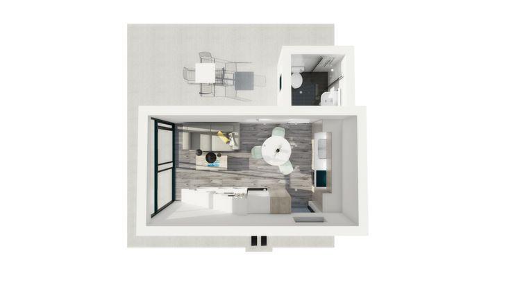 modulhus, attefallshus, zen, modernt, moderna attefallshus, högt tak, trappa, stege, stora fönster, ikea kök, helkaklat badrum