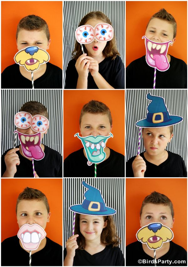 Party Printables | Party Ideas | Party Planning | Party Crafts | Party Recipes | BLOG Bird's Party: Halloween: DIY Party Photo Booth with FREE Printables Props