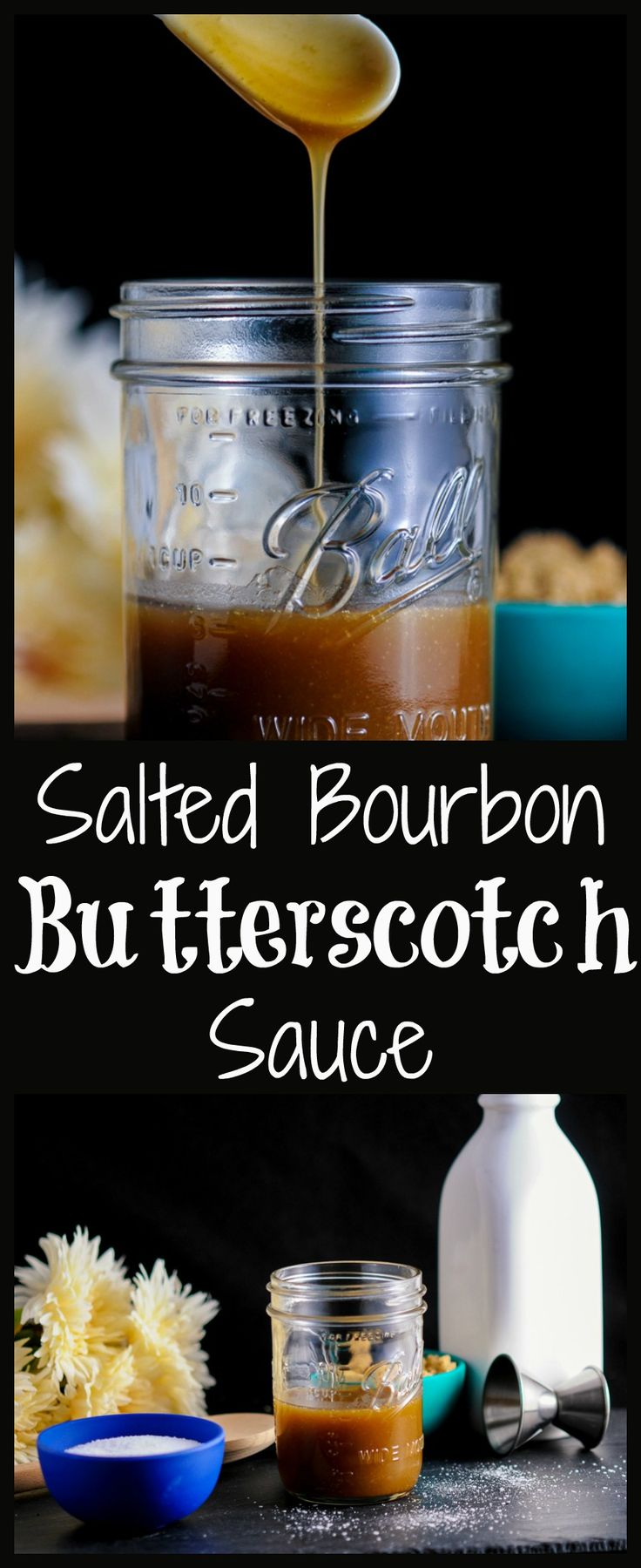 Salted Bourbon Butterscotch sauce - for desserts or cocktails.  Filling, sauce, pudding, fudge, recipe