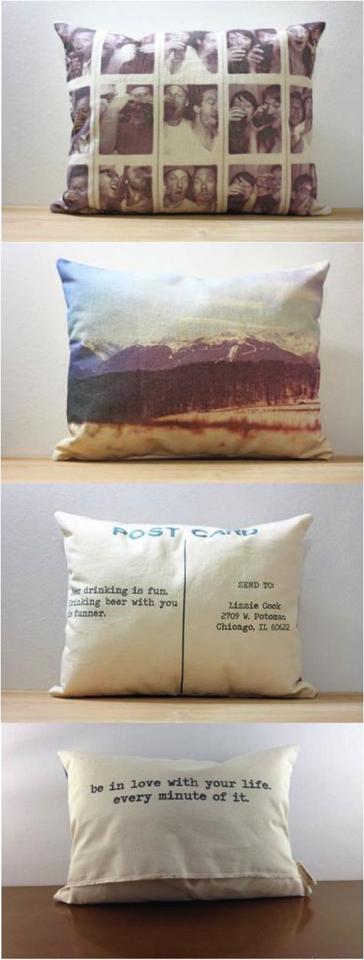 Custom photo pillow featuring up to 6 photos on the front and a custom message on the back