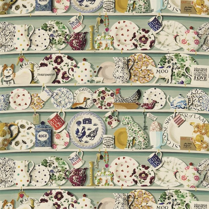 British  Wallpapers - Emma Bridgewater The Dresser Fabric Duck Egg/Multi DEMB223457, £50.00 (http://www.britishwallpapers.co.uk/emma-bridgewater-the-dresser-fabric-duck-egg-multi-demb223457/)