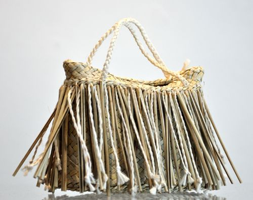 Addie Wainohu Kura Gallery Maori Art Design Aotearoa  New Zealand Raranga Weaving Kete Piupiu Whakairo Small Natural