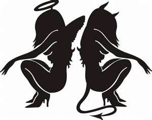 Angel & Devil black tattoos This is so me. One minute I'm an angel and the next the devil couldn't stand me Lol!!