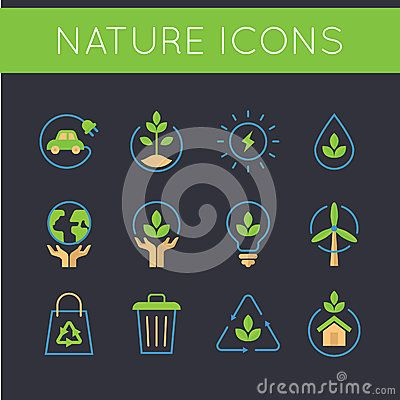 Nature icons that related to go green icons and ecology icons. Green car, save plant, save earth, solar cell, save water, protect earth, leaves, green idea, light bulb, wind mill, green energy, recycle bag, trash, recycle icon, green house.