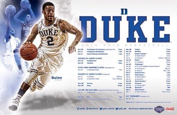 Duke basketball schedule poster