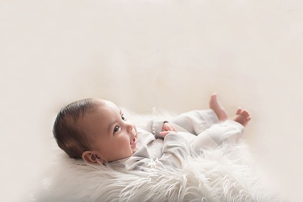 Liam H, 4 month milestone session, baby on fur, baby boy photos, white set up, Melzphotography, Bloomfield, NJ, simple set up, in studio photography