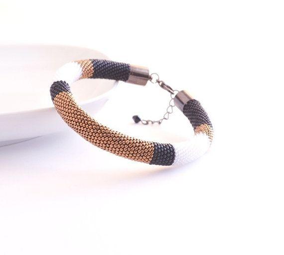 Bronze Black Bangle, Beaded Bracelet, Color Block Modern Geometric Bangle, Minimal Bronze Bracelet, Minimalist Style, Black White Bangle