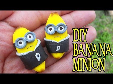 Kawaii Banana Minion Charm polymer clay tutorial