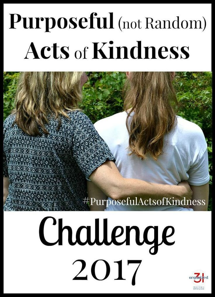 Join the Purposeful (not Random) Acts of Kindness Challenge for 2017 and purposefully help others with charitable and thoughtful acts.