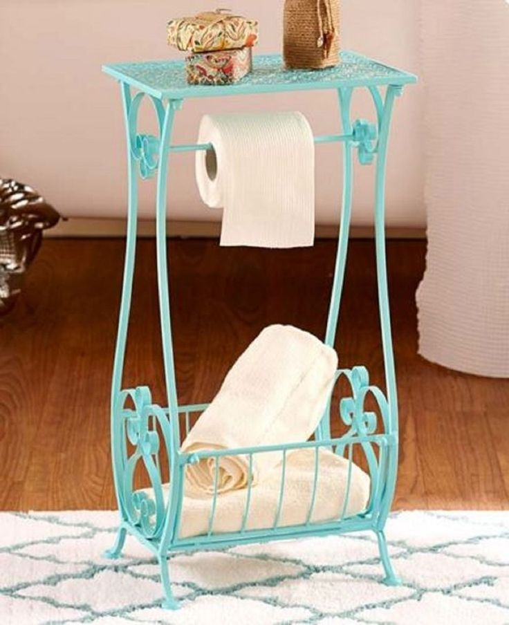 Bathroom Storage Table Bath Stand Toilet Paper Holder Towel Caddy Lace Design  #Unbranded