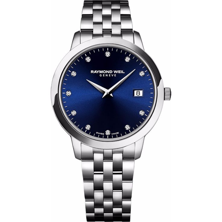 Simplicity is of the essence with this all steel timepiece. The blue dial is highlighted with 11 diamonds and boasts a date window at 3 o'clock.  Timeless and refined, toccata proves beauty is not always fleeting.  For Rs.69300/-  Shop at AceBazaar.in: http://acebazaar.in/product/raymond-weil-toccata-women-5388-st-50081/