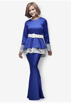 Royal Star Modern Peplum Kurung from Emel by Melinda Looi in blue_1