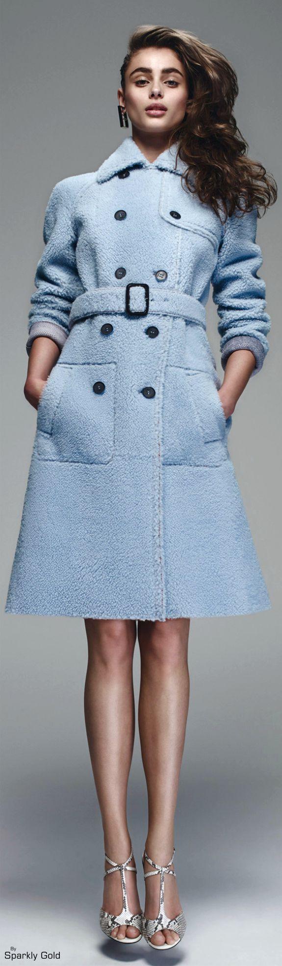 Fendi Resort 2016 blue coat women fashion outfit clothing style apparel @roressclothes closet ideas