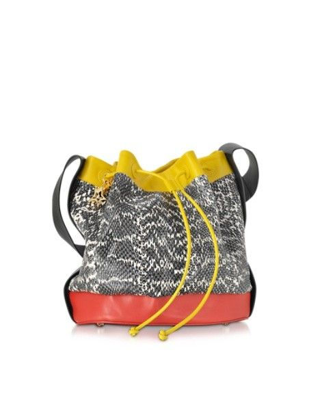 CORTO MOLTEDO COLOR BLOCK AYERS AND LEATHER BUCKET BAG