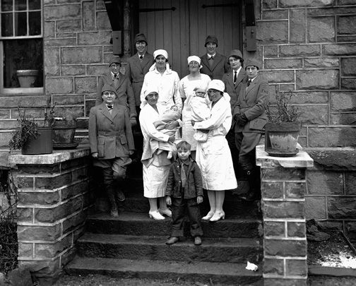 Group of nurse-midwives, dressed in winter riding uniform, and hospital nurses at Hyden, ca. 1930. Mary Breckinridge stands in the front row, far left. (#115318, Caufield & Shook Collection, Special Collections, University of Louisville, Louisville, Kentucky)