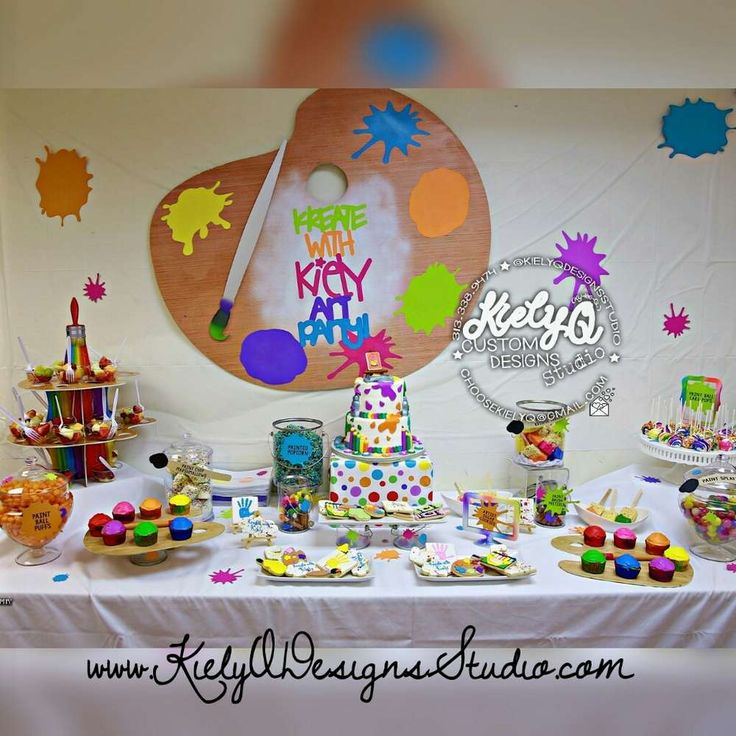 Arts & crafts birthday party! See more party planning ideas at CatchMyParty.com!