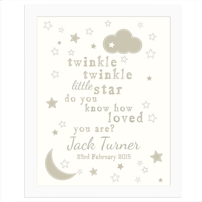 34 best personalised newborn baby gifts images on pinterest baby personalised twinkle twinkle poster white frame unique gift idea for new baby christening gift baptism negle Image collections