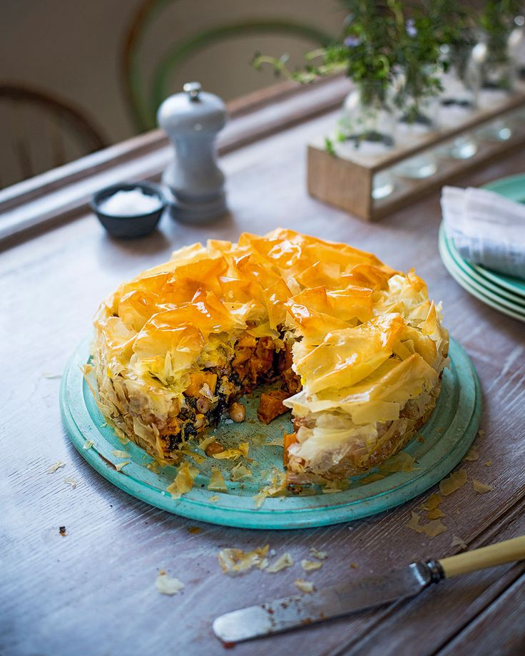 Squash, spinach and chickpeas make a pie recipe that would make a fantastic vegetarian centrepiece at a dinner party.
