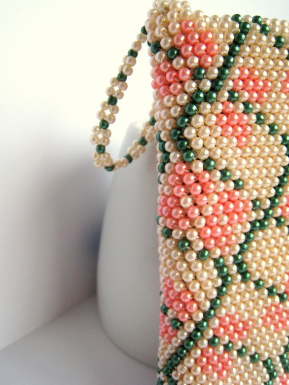 crochet with beads cell purse