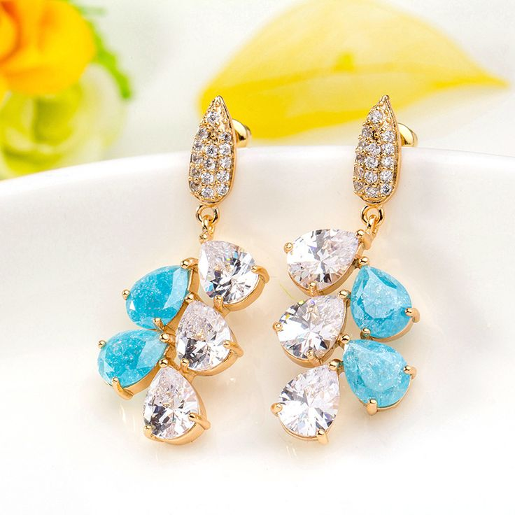 Leaf Droplet Gold Plated ICE CZ Drop Earrings