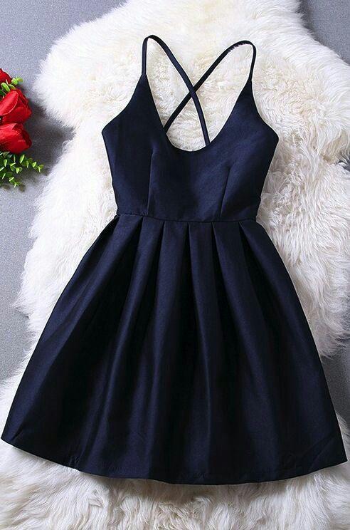 Spaghetti Straps Navy Blue Homecoming Bacjless Short Mini Satin Cocktail Party Dresses prom - Shops Hive