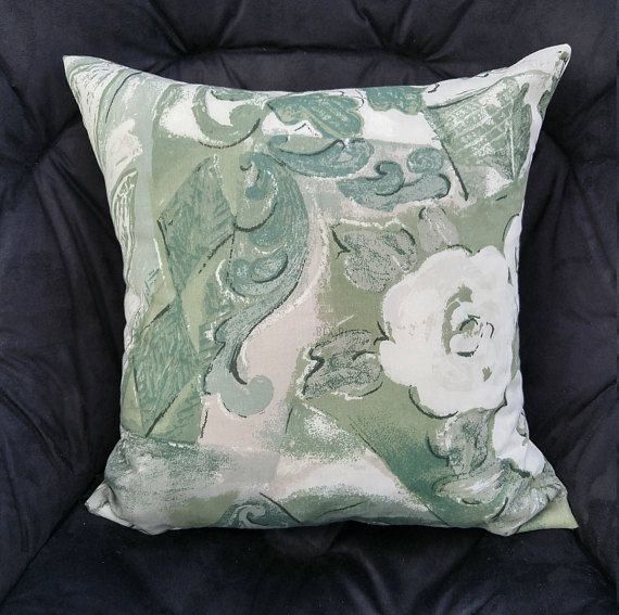 Seafoam Green Floral Pillow Cover Sage and Seafoam Cushion
