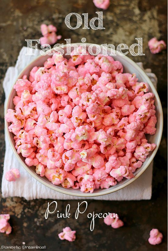Even if you didn't enjoy store bought pink popcorn as a kid, you will like this homemade version. It's plain popcorn with a light candy coating and fun pink color.