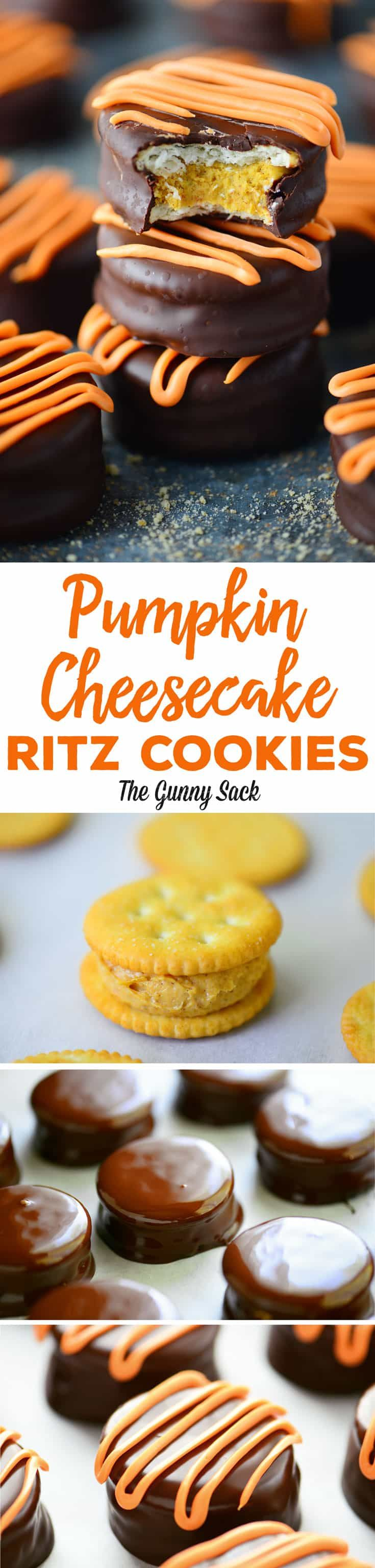 Pumpkin Cheesecake Ritz Cookies are like a pumpkin truffle inside Ritz crackers. The dark chocolate is the perfect compliment to the sweet pumpkin filling. #pumpkinrecipes #cookies