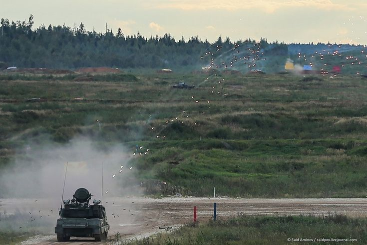 Army 2016. Dynamic show in Alabino.  ZSU 23-4 engaging ground targets.