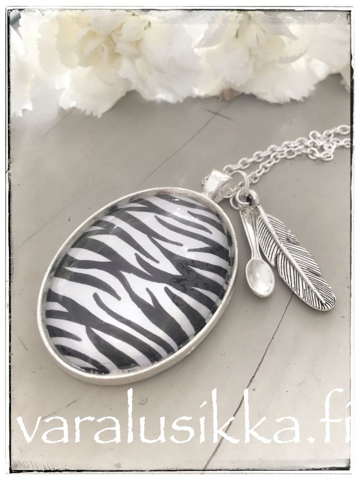 Hand painted zebra spoon necklace inspired by the Spoon Theory and Ehlers-Danlos Syndrome.